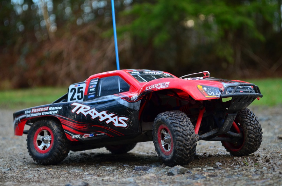 red Traxxas RC toy car