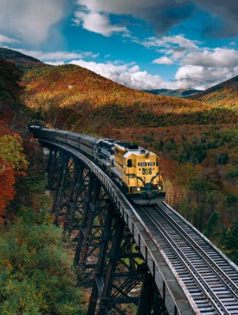 yellow train and mountains